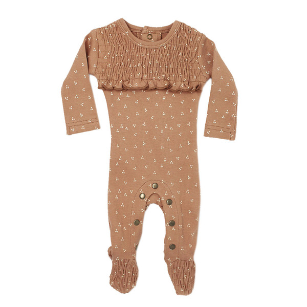 Organic Smocked Overall in Nutmeg Dots, Flat