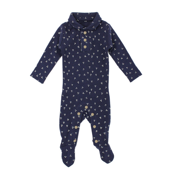 Organic Polo Overall in Navy Dots, Flat
