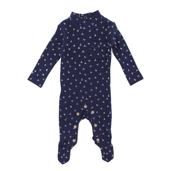 Organic Mock-Neck Overall in Navy Dots, Flat