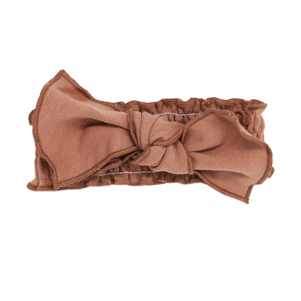 Organic Smocked Tie Headband in Nutmeg, Flat