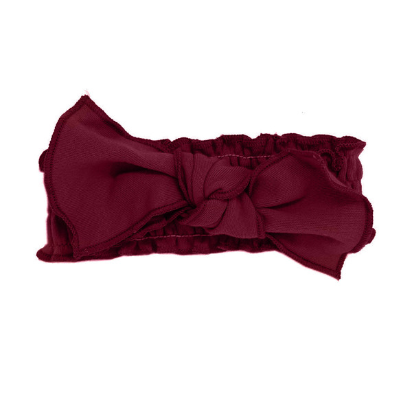 Organic Smocked Tie Headband in Cranberry, Flat