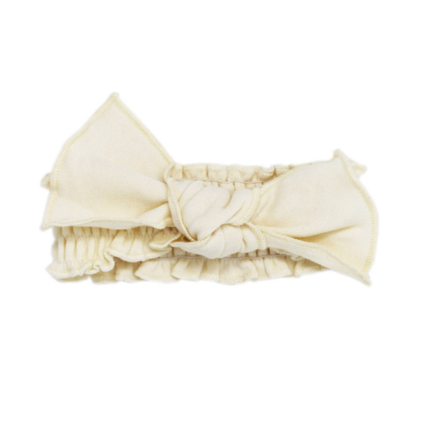 Organic Smocked Tie Headband in Beige, Flat