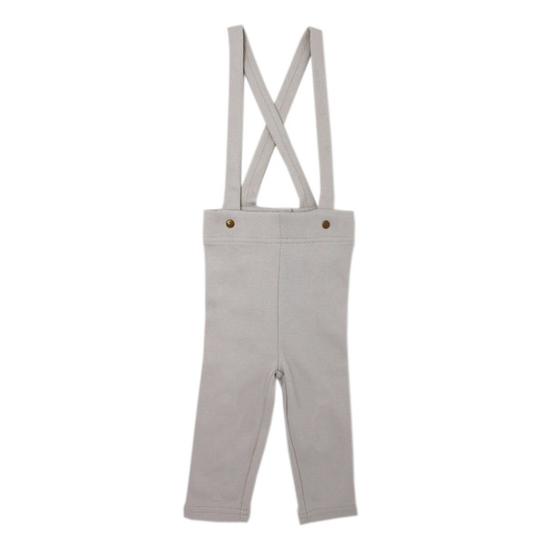 Organic Suspender Pant in Pebble, Flat
