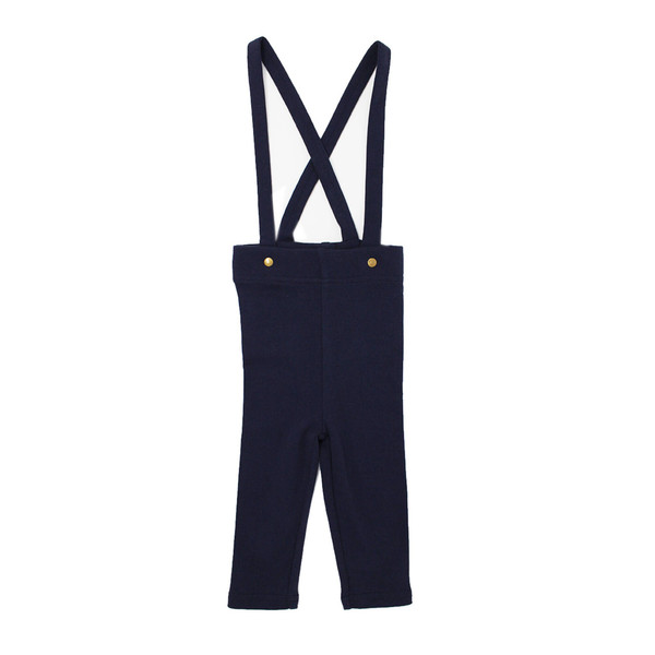 Organic Suspender Pant in Navy, Flat