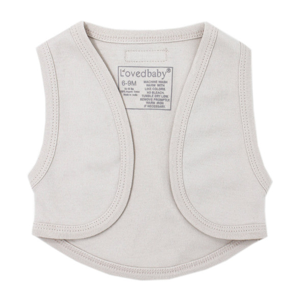 Organic Vest in Pebble, Flat