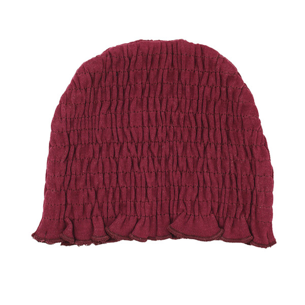Organic Smocked Ruffle Cap in Cranberry, Flat