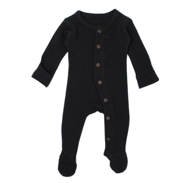 Organic Thermal Jumpsuit in Black, Flat