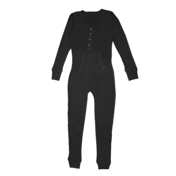 Organic Thermal Women's Onesie in Black, Flat