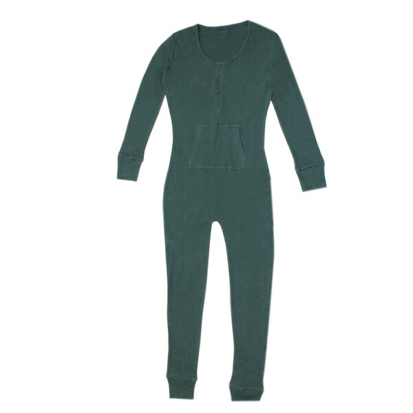 Organic Thermal Women's Onesie in Pine, Flat