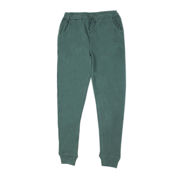 Organic Thermal Men's Jogger Pants in Pine, Flat