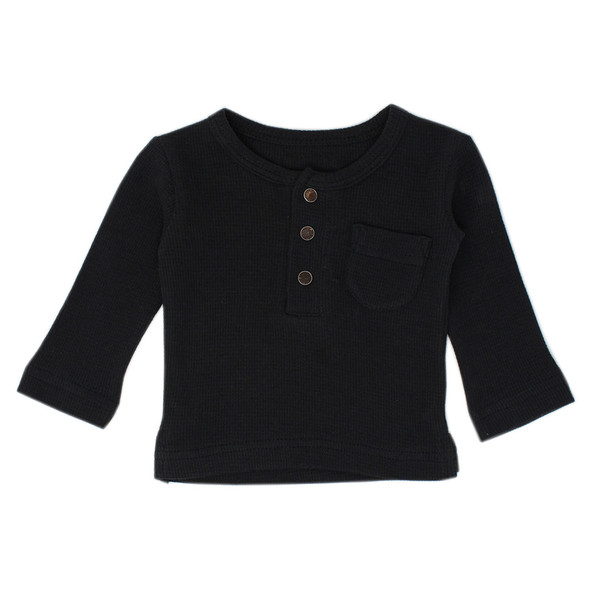 Organic Thermal L/Sleeve Shirt in Black, Flat