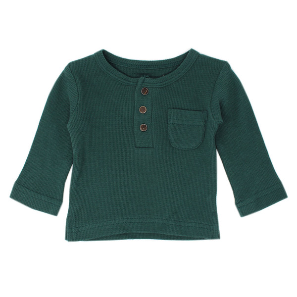 Organic Thermal L/Sleeve Shirt in Pine, Flat
