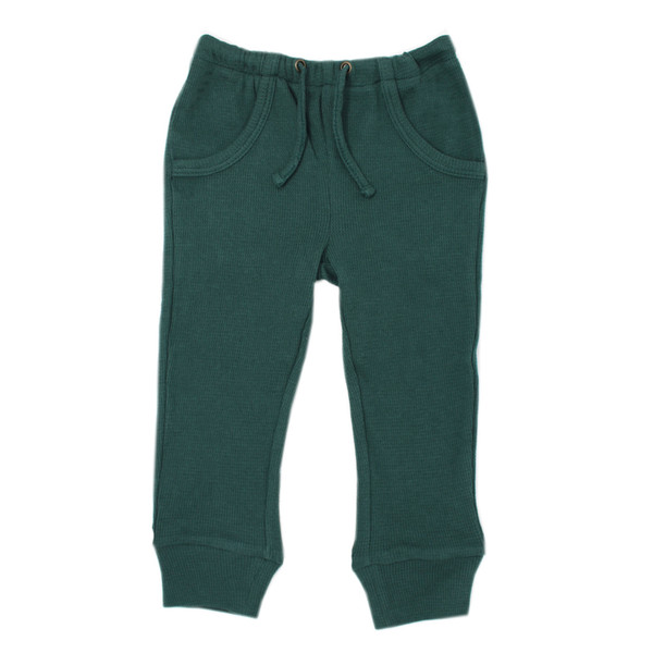 Organic Thermal Kids' Jogger Pants in Pine, Flat