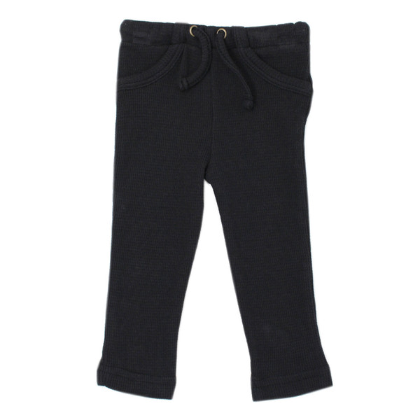 Organic Thermal Drawstring Fitted Pants in Black, Flat