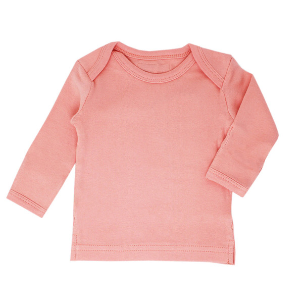 Organic L/Sleeve Shirt in Coral, Flat