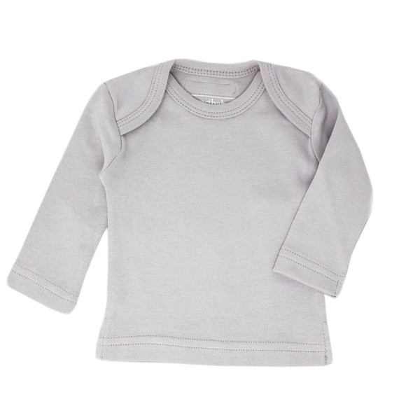 Organic L/Sleeve Shirt in Light Gray, Flat