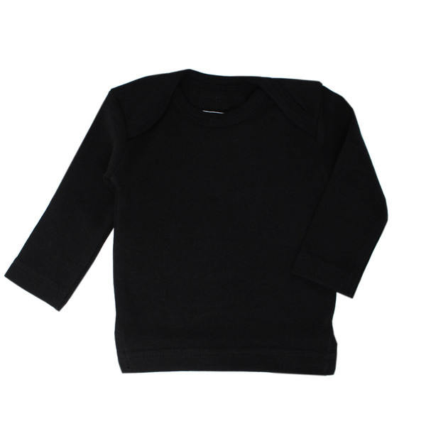 Organic L/Sleeve Shirt in Black, Flat