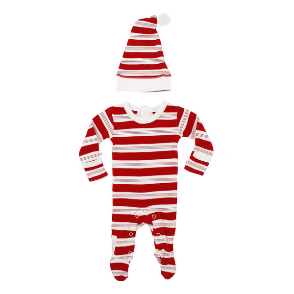 Organic Overall & Cap Set in Peppermint Stripe, Flat