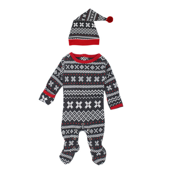 Organic Overall & Cap Set in XOXO Fair Isle, Flat