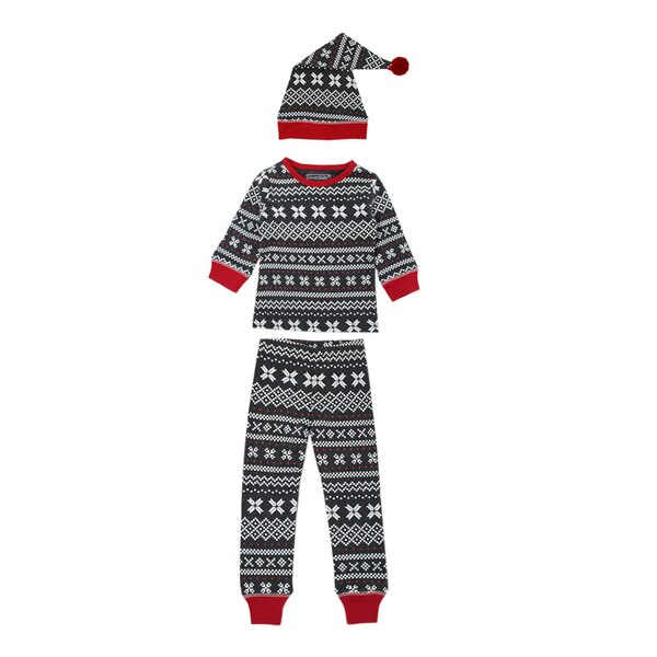 Organic Kids' L/Sleeve PJ & Cap Set in XOXO Fair Isle, Flat