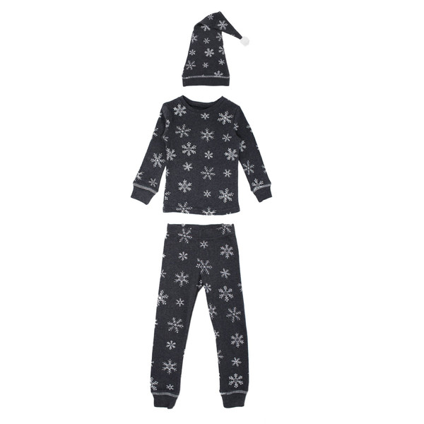 Organic Kids' L/Sleeve PJ & Cap Set in Frost, Flat