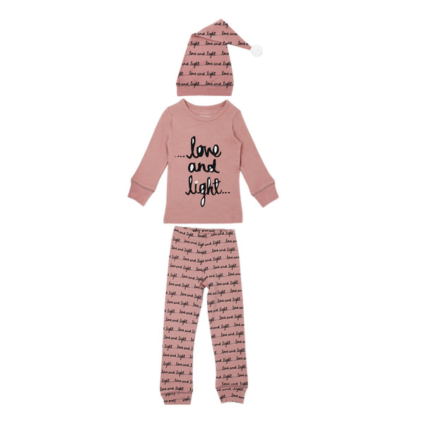 Organic Kids' L/Sleeve PJ & Cap Set in Mauve Love and Light, Flat