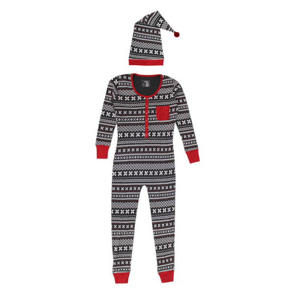 Organic Women's Onesie & Cap Set in XOXO Fair Isle, Flat