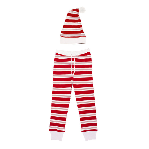 Organic Men's Holiday Joggers & Cap Set in Peppermint Stripe, Flat