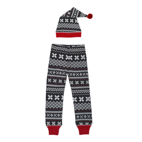 Organic Men's Holiday Joggers & Cap Set in XOXO Fair Isle, Flat