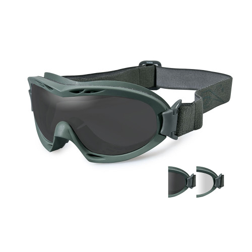 Nerve | Two Lens w/ Green Frame, Ballistic Goggles,