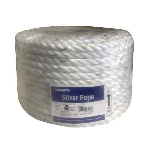 Silver Rope PE 3 Strand 10mm White 125m Roll