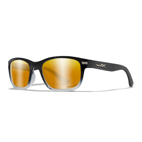 Wiley X Helix | Captivate Bronze Mirror Lens w/ Gloss Black to Crystal Clear Frame