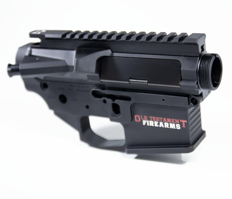 OT Firearms AR15 Billet Lower Receiver  w/AMBI Bolt Release - Logo
