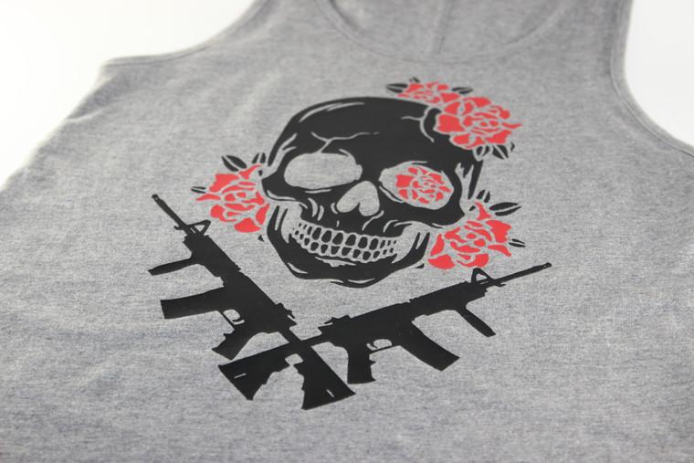 Women's Skull, Roses & AR15s Tank Top - Old Testament Firearms