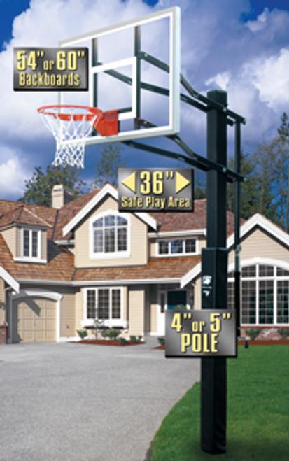 Bison Atlantis Adjustable Basketball Hoop - 54 Inch Glass