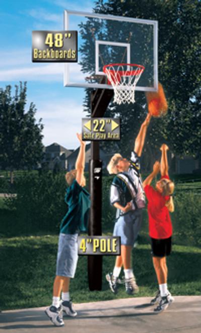 Bison Night Hawk Adjustable Basketball Hoop - 48 Inch Smoked Acrylic