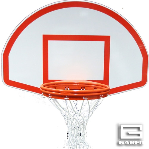 Gared White Fan-Shaped Aluminum Backboard with Target and Border