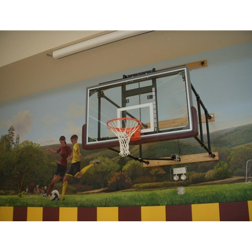 Gared Four Point Wall Mounted Basketball Hoop - 72 Inch Glass