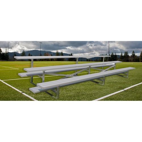 Gared Standard Bleachers - Three Row, Single Foot Plank