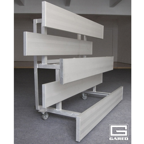 Gared Indoor Tip-N-Roll Bleachers - Two Row, Double Foot Plank