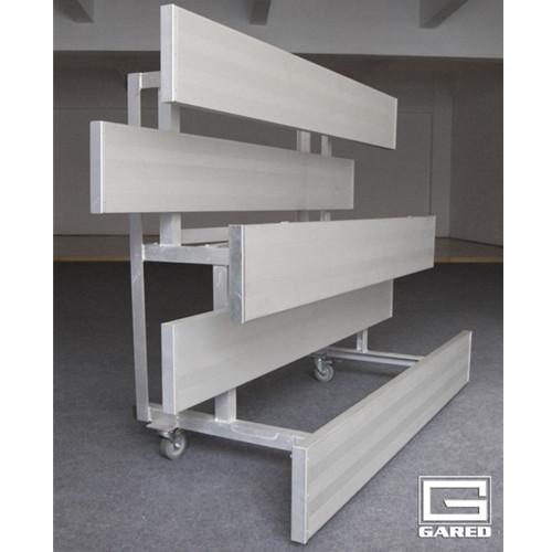 Gared Indoor Tip-N-Roll Bleachers - Three Row, Double Foot Plank