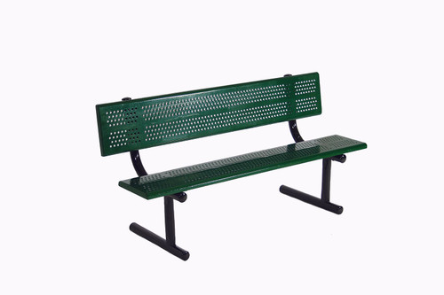 Perforated Steel Bench with Back