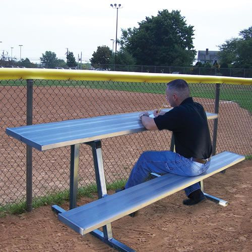 Outdoor Scorers Table with Bench - Natural Finish