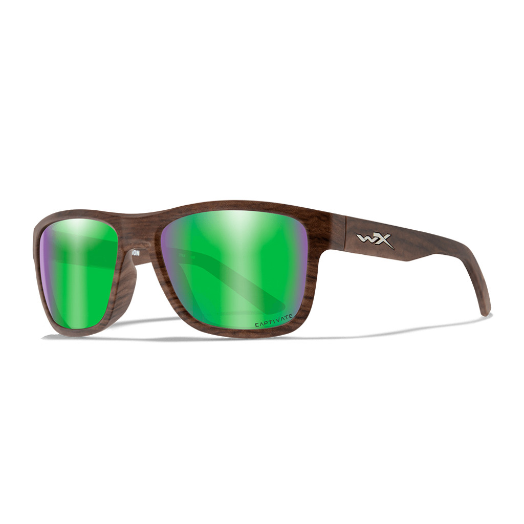Wiley X Ovation | Captivate Polarised Green Mirror Lens w/ Matte Woodgrain Frame