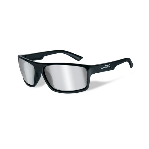 Wiley X Peak | Silver Flash Smoke Grey Lens w/Gloss Black Frame