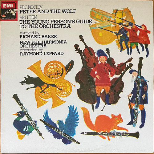 Prokofiev,Britten Narrated ByRichard Baker ,New Philharmonia Orchestra&Raymond Leppard - Peter And The Wolf / The Young Person's Guide To The Orchestra (LP) in EXC Condition - 1971 Australian Pressing