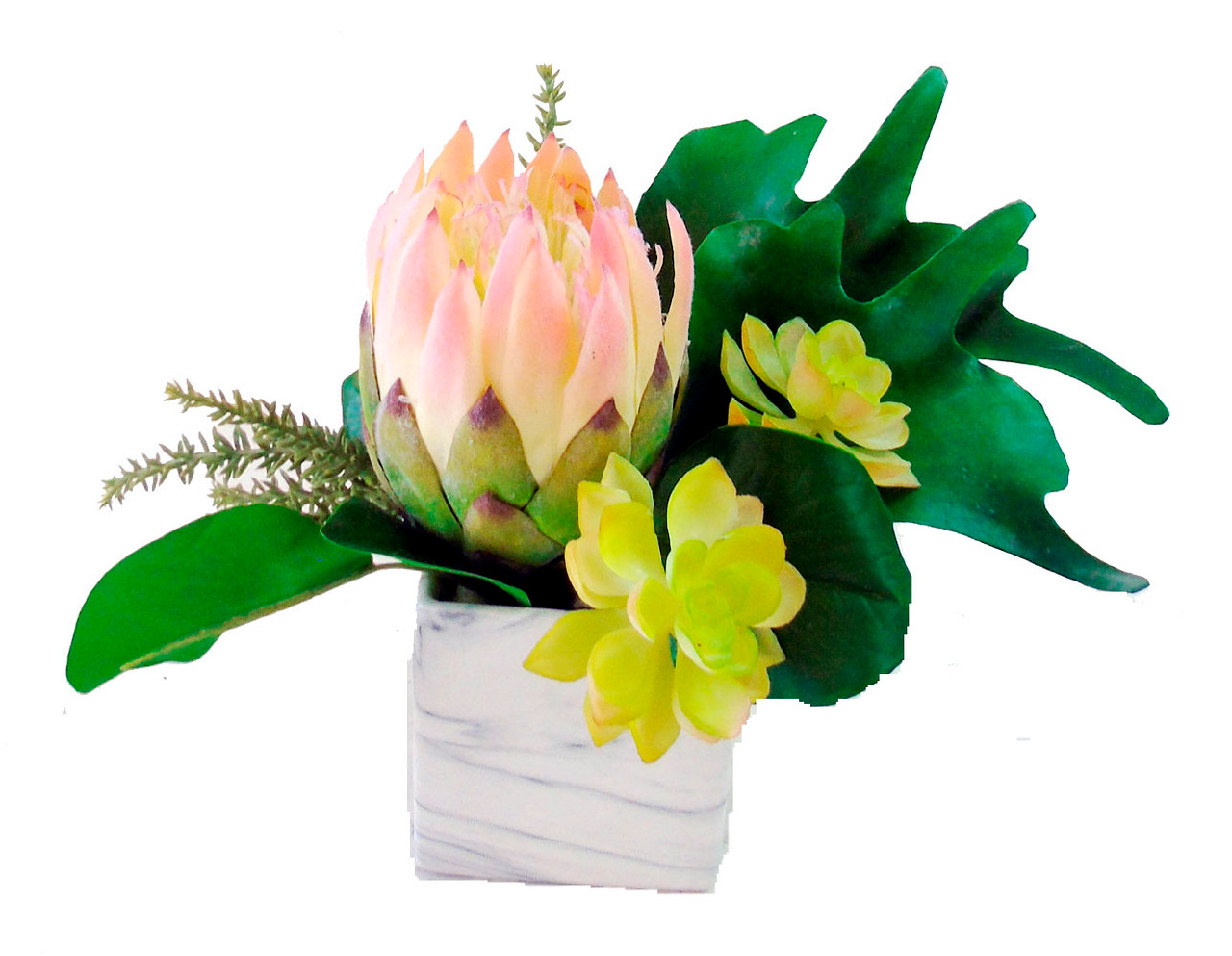 Artificial King Protea And Succulent Arrangement Creative Branch