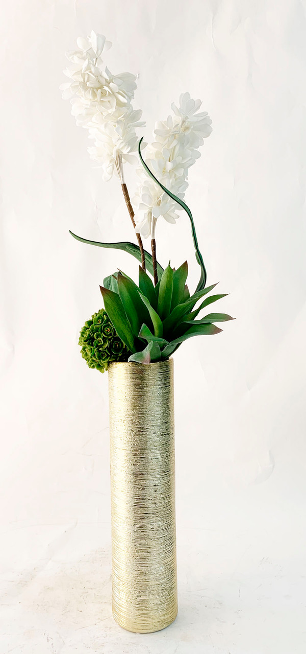 Foam Hyacinth And Faux Succulents In Tall Vase Creative Branch