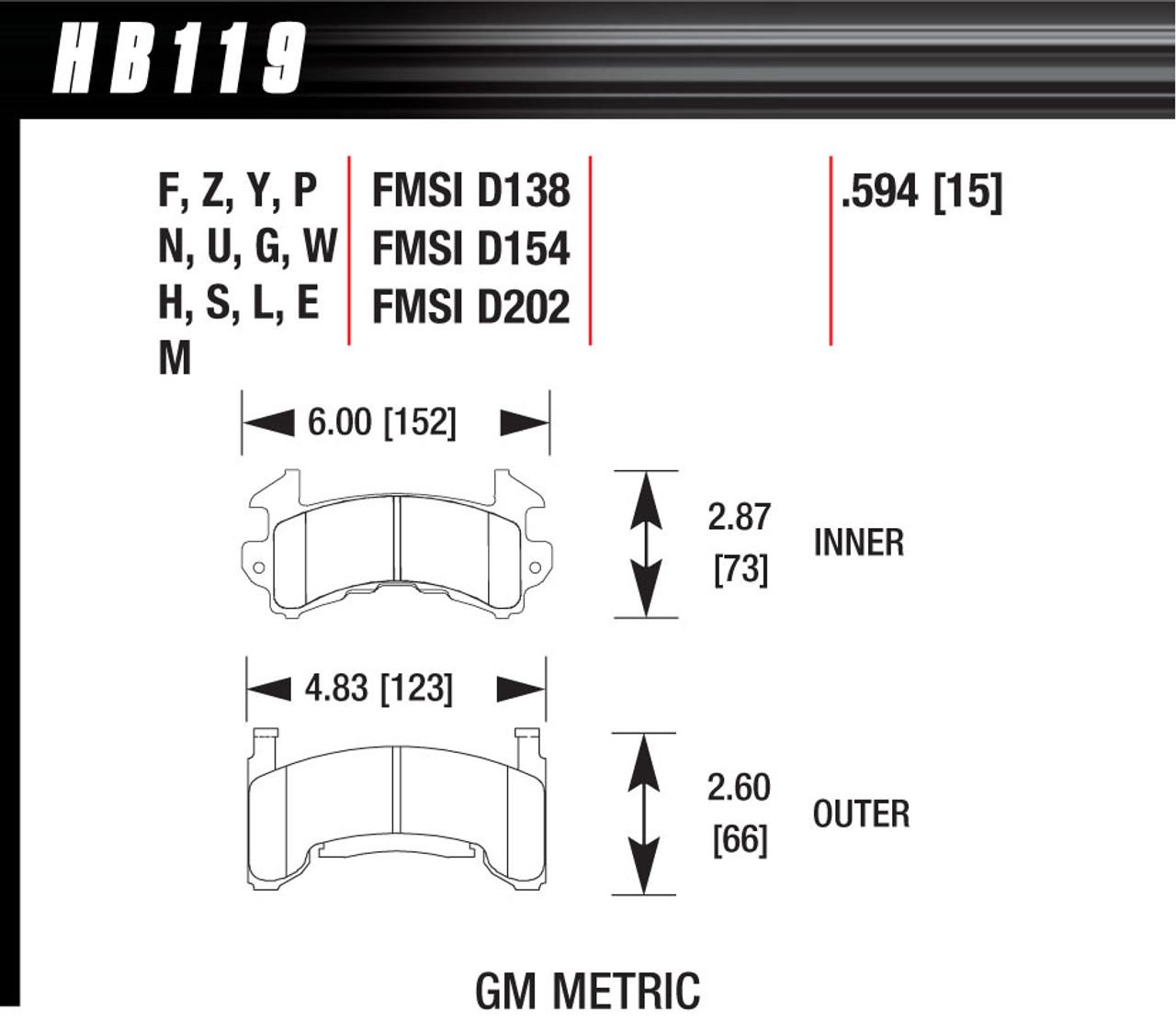 Hawk Metric GM Black Brake Pads HAWHB119M594