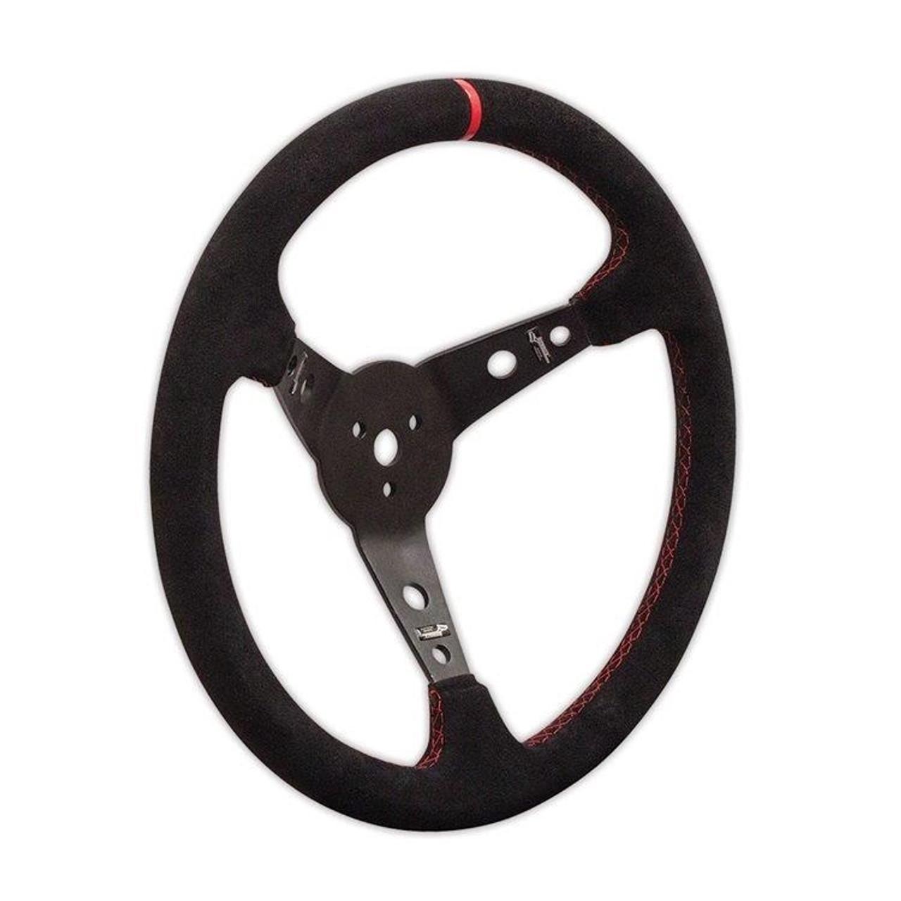 """Longacre 52-56797 Suede Dished Steering Wheel - 15"""" Black"""
